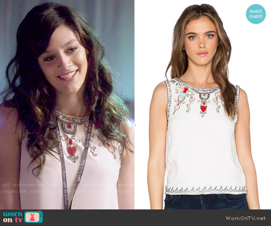 Alice & Olivia Cecille Embellished Top worn by Aubrey Peeples on Nashville