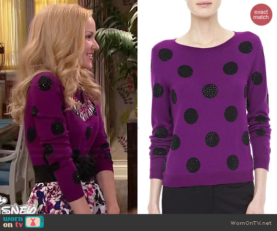 Alice & Olivia Celyn Sweater worn by Dove Cameron on Liv & Maddie