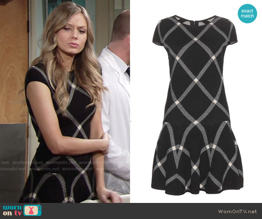 Alice & Olivia Checked Drop Waist Dress worn by Melissa Ordway on The Young & the Restless