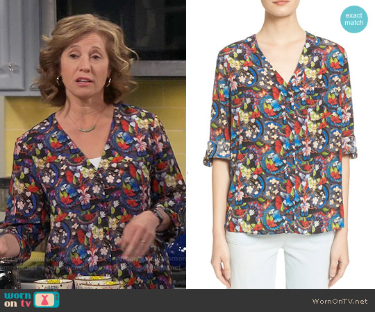Alice & Olivia Colby Silk Floral Blouse worn by Nancy Travis on Last Man Standing