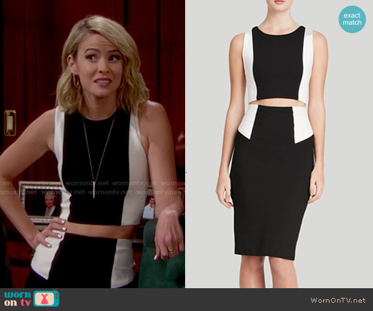 Alice & Olivia Color Block Crop Top and Pencil Skirt worn by Linsey Godfrey on The Bold & the Beautiful