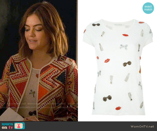 Alice + Olivia Crystal Embellished T-shirt worn by Aria Montgomery on PLL