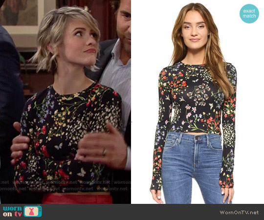 Alice + Olivia Delaina Floral Top worn by Linsey Godfrey on The Bold & the Beautiful