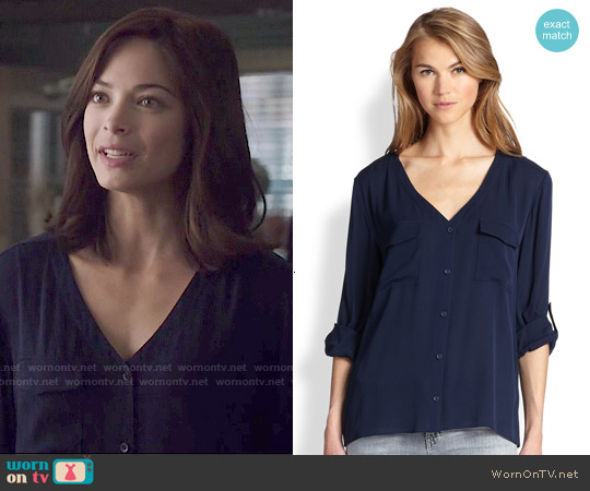 Alice & Olivia Donnie Blouse worn by Kristin Kreuk on Beauty & the Beast