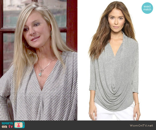AIR by Alice + Olivia Draped Slouchy Tee worn by Sharon Case on The Young & the Restless