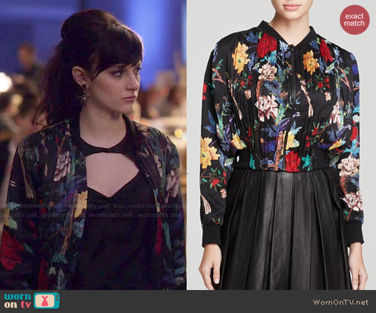 Alice & Olivia Drapey Gathered Crop Jacket worn by Aubrey Peeples on Nashville