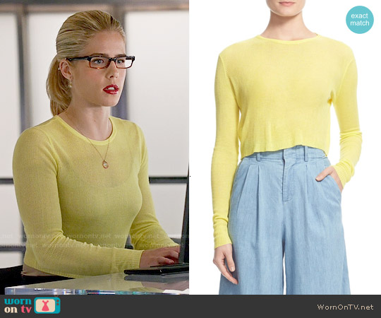 Alice and Olivia Eamon Sheer Rib Crop Top worn by Emily Bett Rickards on Arrow