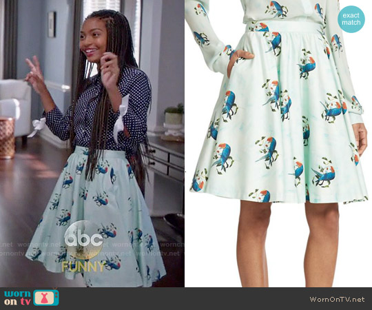 Alice & Olivia Earla Skirt worn by Yara Shahidi on Blackish