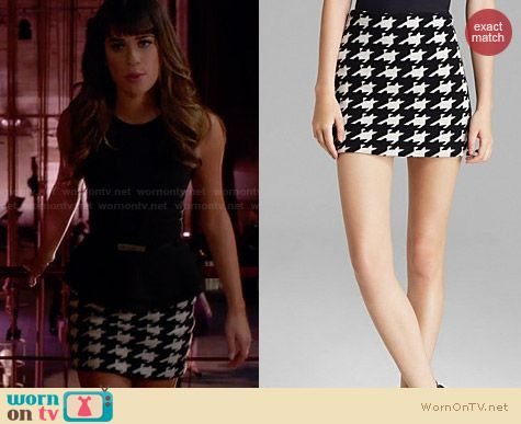 Alice & Olivia Elana Houndstooth Skirt worn by Lea Michele on Glee
