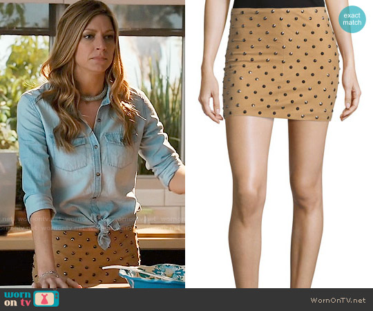 Alice & Olivia Elana Studded Skirt worn by Jes Macallan on Mistresses