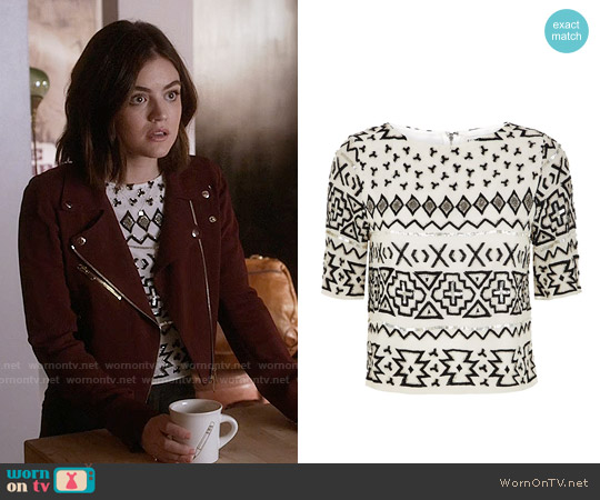 Alice & Olivia Eleanor Embellished Top worn by Aria Montgomery on PLL