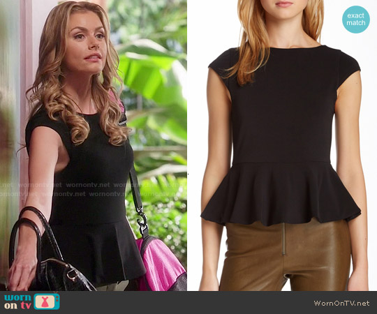 Alice & Olivia Ella Peplum Top worn by Brianna Brown on Devious Maids