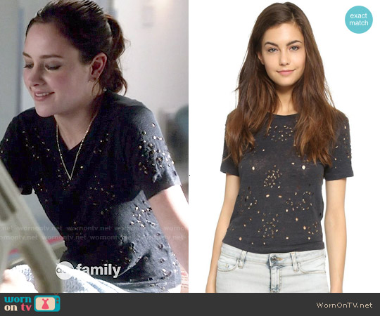 AIR by Alice & Olivia Embellished Crop Top worn by Haley Ramm on Chasing Life
