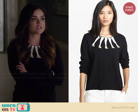 Alice & Olivia Embellished Intarsia Knit Sweater worn by Lucy Hale on PLL