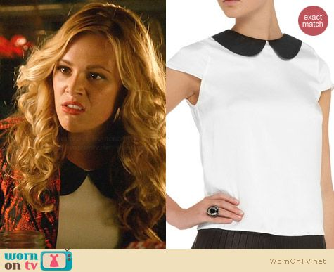 Alice & Olivia Emily Leather Collar Top worn by Natalie Hall on Star-Crossed