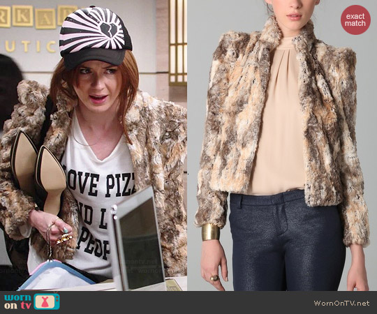 Alice & Olivia Faux Fur Jacket worn by Karen Gillan on Selfie