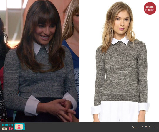 Alice & Olivia Fitted Collar Sweater worn by Lea Michele on Glee