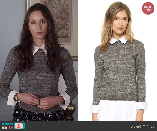 Alice & Olivia Fitted Collar Sweater worn by Troian Bellisario on PLL