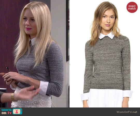 Alice + Olivia Fitted Collar Sweater worn by Justine Lupe on Cristela