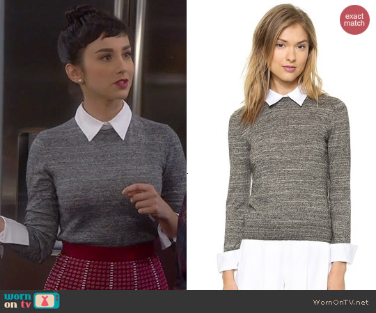 Alice + Olivia Fitted Collar Sweater worn by Molly Ephraim on Last Man Standing