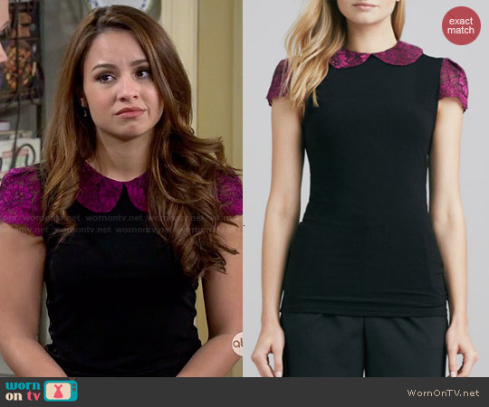 Alice & Olivia Floral-Print & Solid Top worn by Aimee Carrero on Young & Hungry