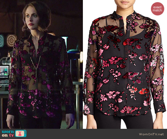Alice & Olivia Floral Velvet Flocked Sheer Chiffon Shirt worn by Willa Holland on Arrow