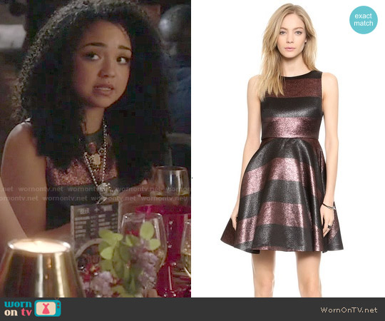 Alice & Olivia Foss Stripe Dress worn by Aisha Dee on Chasing Life