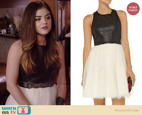 Alice & Olivia Gennifer leather and tulle dress worn by Lucy Hale on PLL