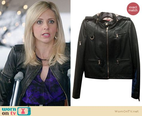 Alice & Olivia Graham Hooded Leather Jacket worn by Sarah Michelle Gellar on The Crazy Ones