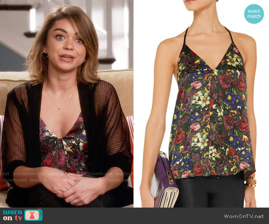 Alice + Olivia Guenda Floral Print Leather Trim Top worn by Haley Dunphy on Modern Family