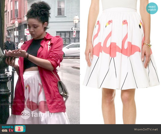 Alice & Olivia Hale Flamingo Puff Skirt worn by Aisha Dee on Chasing Life