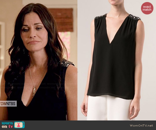 Alice & Olivia Harper Beaded Top worn by Courtney Cox on Cougar Town