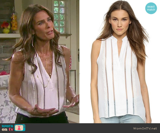 Alice & Olivia Helen Silk Top worn by Kristian Alfonso on Days of our Lives