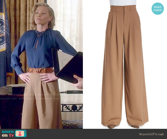 Alice & Olivia High-Waist Pleated Wide-Leg Trousers worn by Portia de Rossi on Scandal