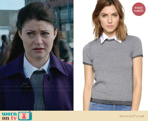 Alice & Olivia Houndstooth Top with Collar worn by Emilie de Ravin on OUAT