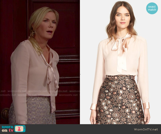 Alice & Olivia Irma Tie Neck Silk Blouse worn by Katherine Kelly Lang on The Bold & the Beautiful