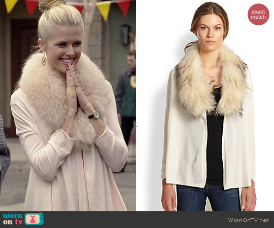 Alice + Olivia Izzy Fur Cascade Cardigan worn by Sarah Wright Olsen on Marry Me