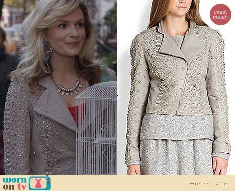 Alice & Olivia Jace Embellished Jacket worn by Lindsey Gort on The Carrie Diaries