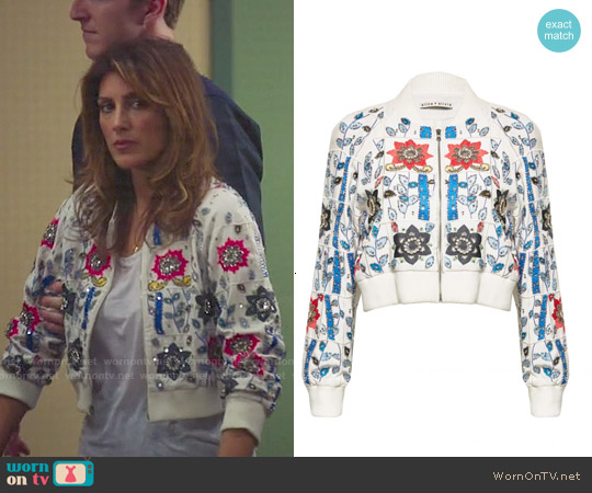 Alice & Olivia Jack Embroidered Cropped Jacket worn by Jennifer Esposito on Mistresses