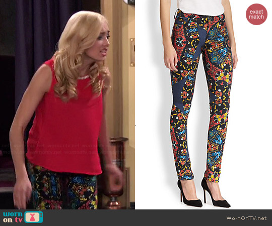 Alice & Olivia Jewel Print Skinny Jeans worn by Peyton List on Jessie