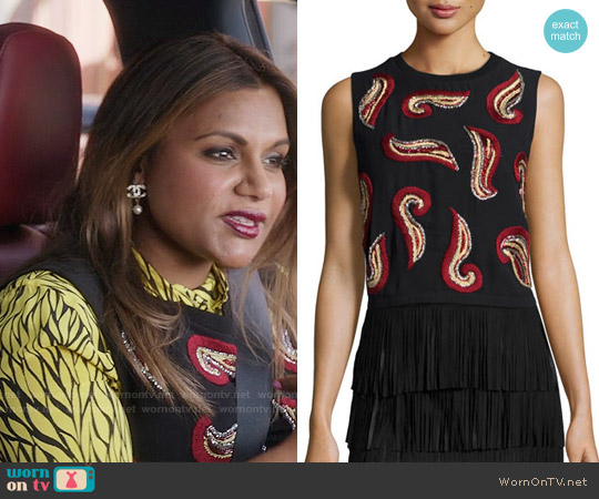 Alice & Olivia Kara Top worn by Mindy Lahiri on The Mindy Project