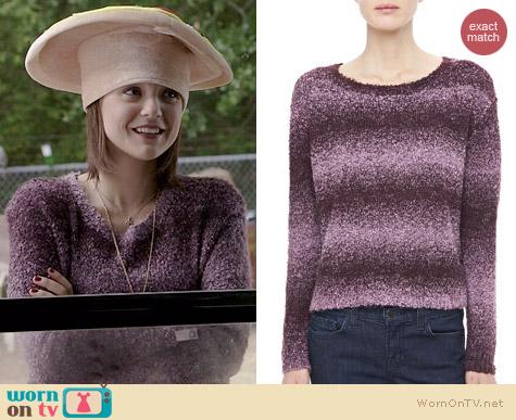 Alice + Olivia Kerri Shimmery Striped Sweater worn by Kathryn Prescott on Finding Carter