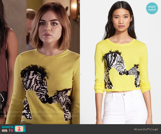 Alice & Olivia Khan Zebra Sweater worn by Lucy Hale on PLL