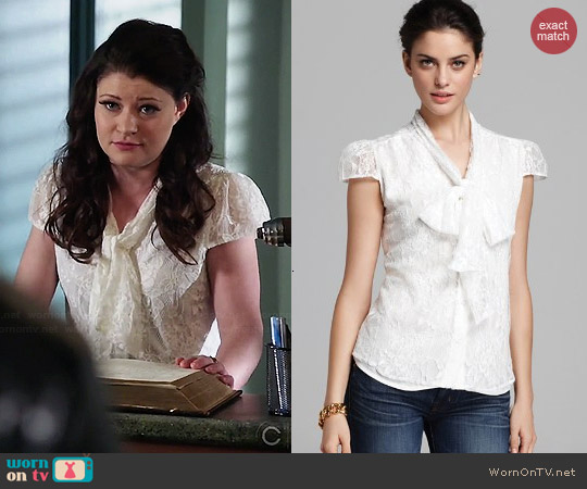 Alice & Olivia Lace Arie Blouse worn by Emilie de Ravin on OUAT