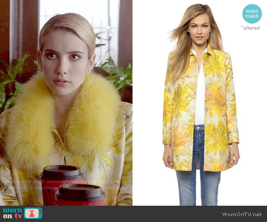 Alice + Olivia Laney A-Line Coat worn by Emma Roberts on Scream Queens