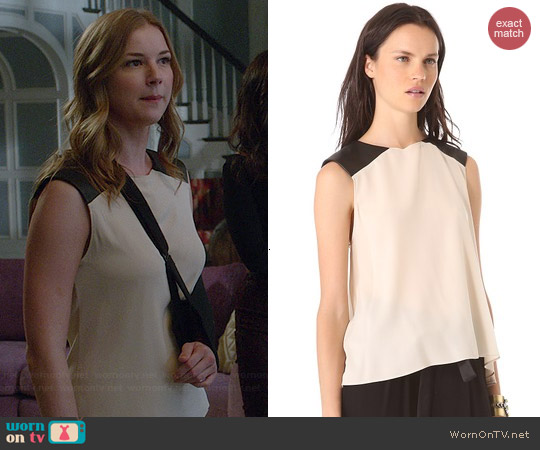 AIR by Alice & Olivia Leather Shoulder Muscle Tee worn by Emily VanCamp on Revenge