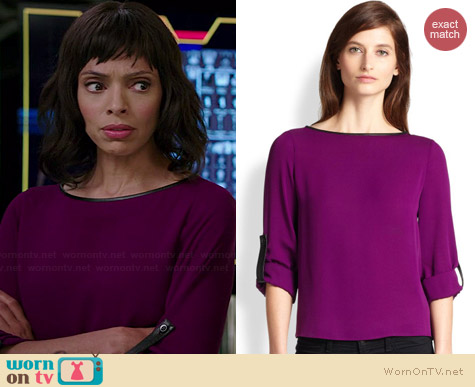 Alice & Olivia Leather Trimmed Roll Sleeve Blouse worn by Tamara Taylor on Bones