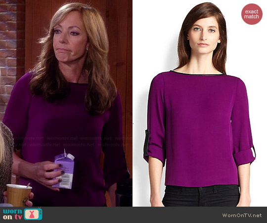 Alice + Olivia Leather Trimmed Roll Sleeve Top worn by Allison Janney on Mom