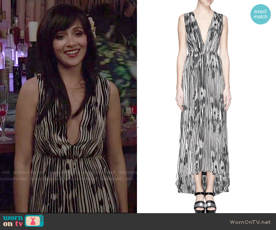Alice & Olivia Lexa Woodgrain Maxi Dress worn by Italia Ricci on Chasing Life