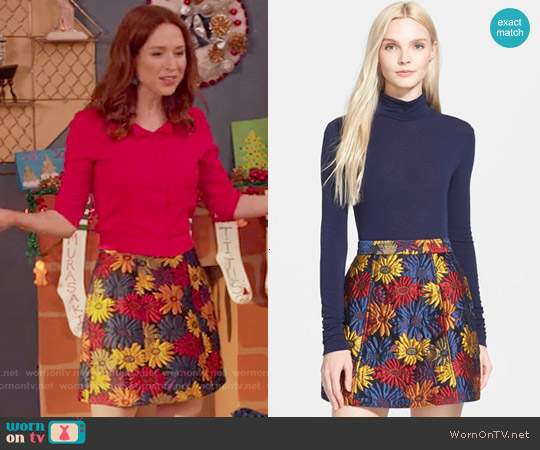 Alice + Olivia Loran Mini Skirt worn by Ellie Kemper on Unbreakable Kimmy Schmidt